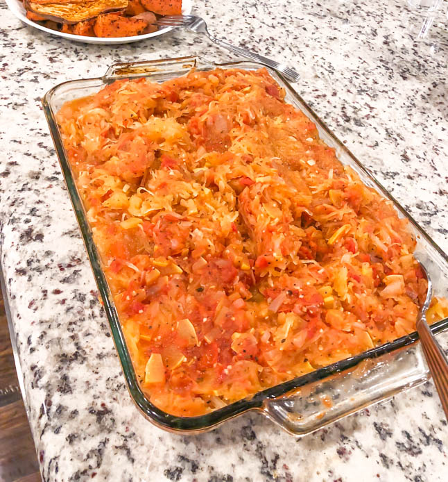healthy, plant-based baked spaghetti squash with zucchini tomato sauce- oil free and low calories    adoubledose.com