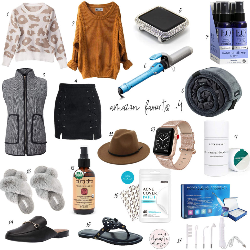 lifestlye and fashion blogger alexis and samantha belbel share their favorite amazon finds on prime: wool hat, furry slippers, acne stickers, natural deodorant, apple watch band