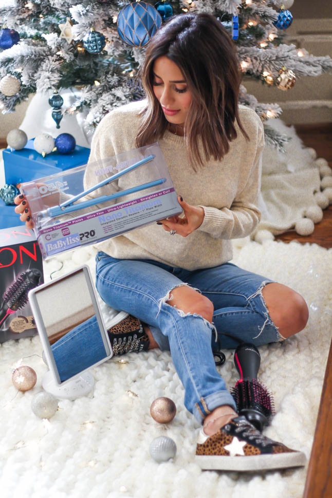 a double dose blog sharing holiday gifts for hair lovers: revlon brush hair dryer, babyliss hair straightener, mirror with speaker all from Walmart | adoubledose.com