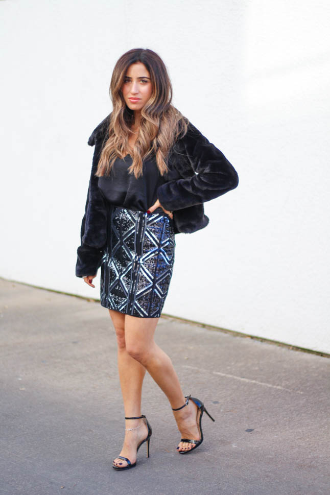 lifestyle and fashion blogger samantha belbel wearing a black and grey sequin mini skirt from express with a black faux fur jacket and black silk cami for new years eve 2019 outfit idea with  | adoubledose.com