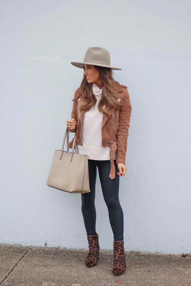 lifestyle and fashion blogger samantha belbel wearing leopard pointed booties from sole society, suede moto jacket from blanknyc, spanx faux leather leggings and a neutral floppy hat | adoubledose.com