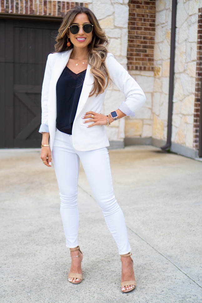 lifestyle and fashion blogger samantha belbel wearing gibson white blazer with a black mesh camisole, white topshop jeans, and sam edelman suede sandals all from nordstrom sharing valentines day gift ideas | adoubledose.com
