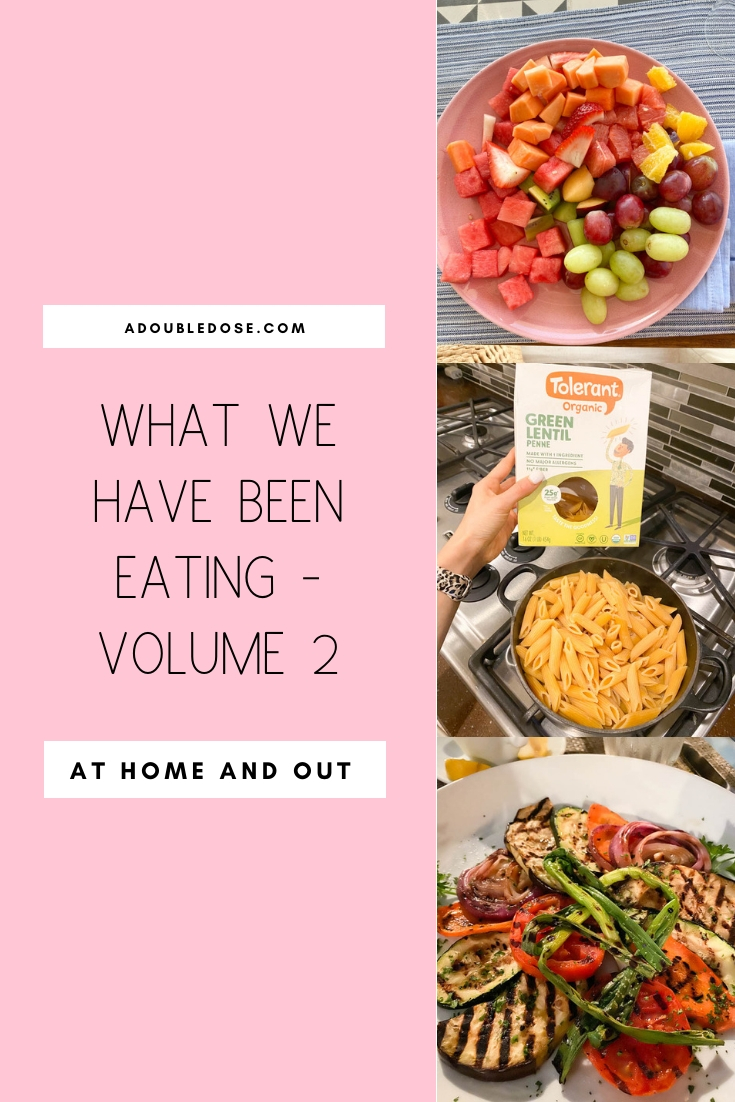 fashion and lifestyle blogger alexis belbel sharing what she eats in a day at home and out, including plant based snacks, breakfast, lunch, and dinner | adoubledose.com