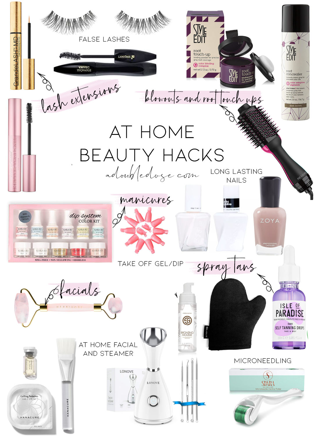lifestyle and fashion blogger alexis belbel sharing at home beauty hacks like tricks for eyelash extensions, at home facials, self tanning, and at home manicures| adoubledose.com