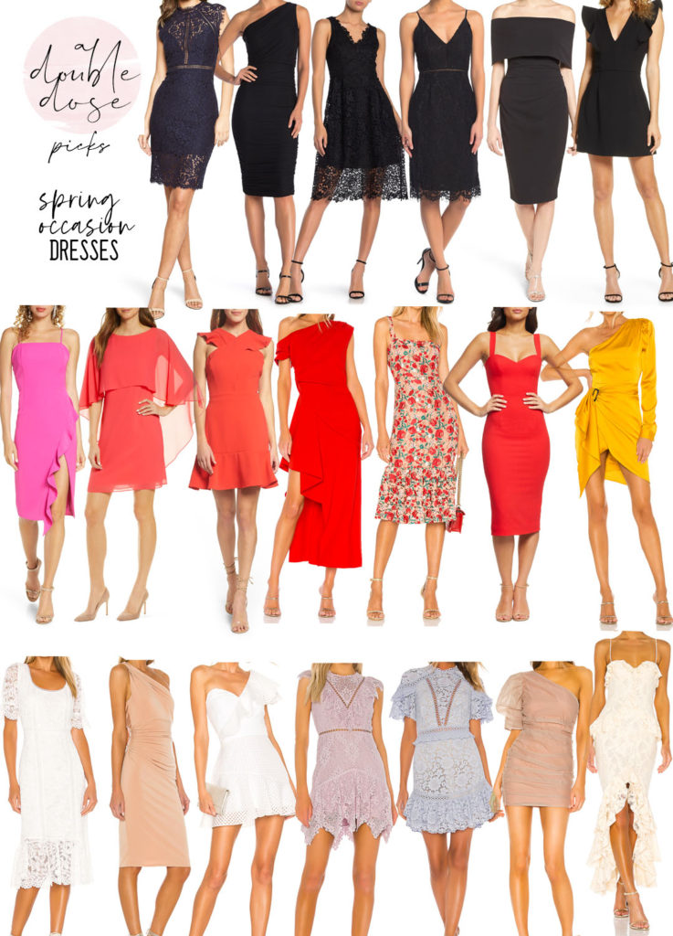 lifestyle and fashion blogger alexis belbel sharing cocktail dresses for any occasion: graduation, easter, weddings, showers, and more in all colors | adoubledose.com