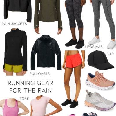 lifestyle and fashion blogger alexis belbel sharing running gear for the rain for her: rain jackets from lululemon, cropped leggings, shorts, running sneakers from brooks, new balalnce, and tops for running | adoubledose.com