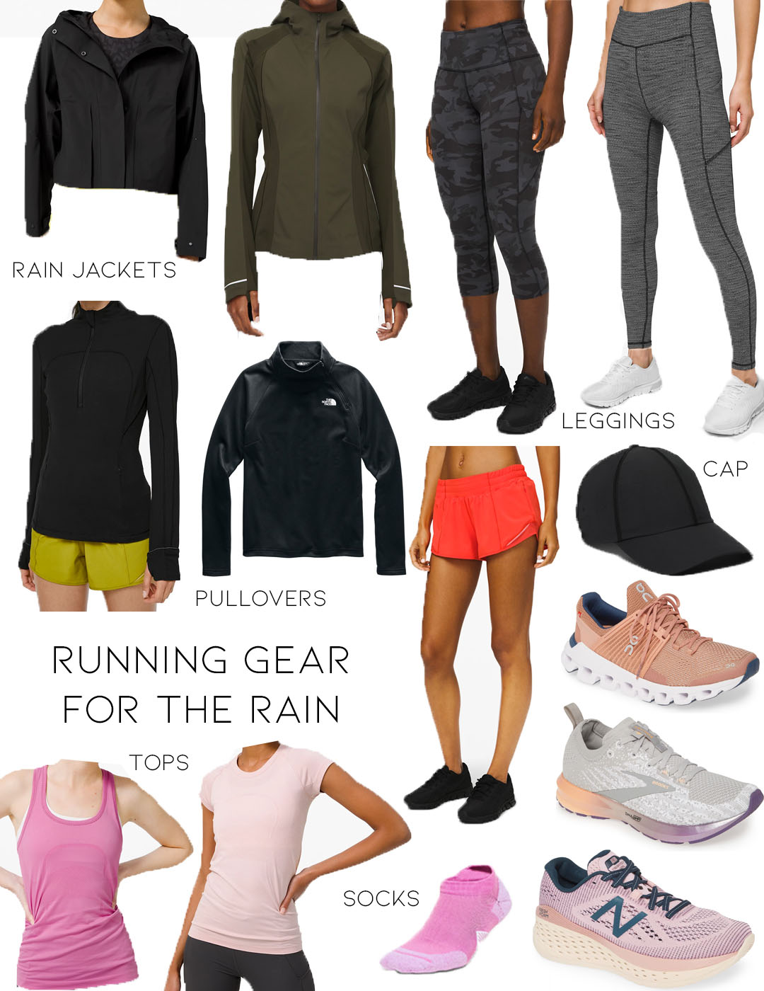 lifestyle and fashion blogger alexis belbel sharing running gear for the rain for her: rain jackets from lululemon, cropped leggings, shorts, running sneakers from brooks, new balalnce, and tops for running   adoubledose.com