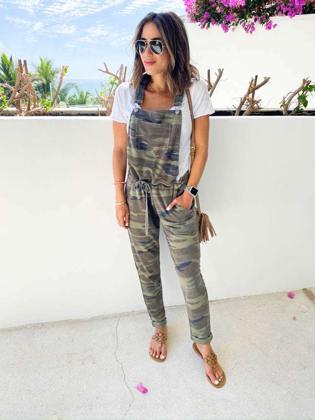 lifestyle and fashion bloggers alexis and samantha belbel share their experience and stay at Grand Velas Los Cabos Resort and the wellnessing getaway retreat wearing camo overalls from zsupply  adoubledose.com