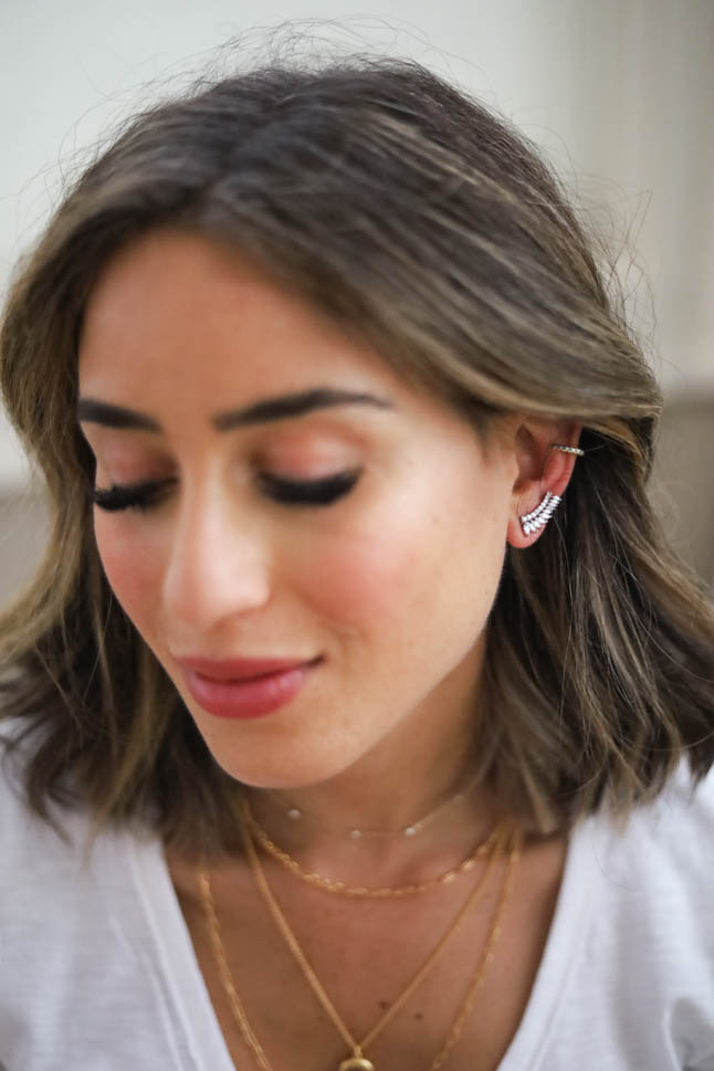 lifestyle and fashion blogger alexis belbel sharing how to layer earrings and jewelry from nordstrom like ear crawlers, ear cuffs, and more| adoubledose.com