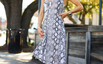 lifestyle and fashion blogger alexis belbel sharing four ways to style a snakeskin print dress from express and nude heels from steve madden| adoubledose.com