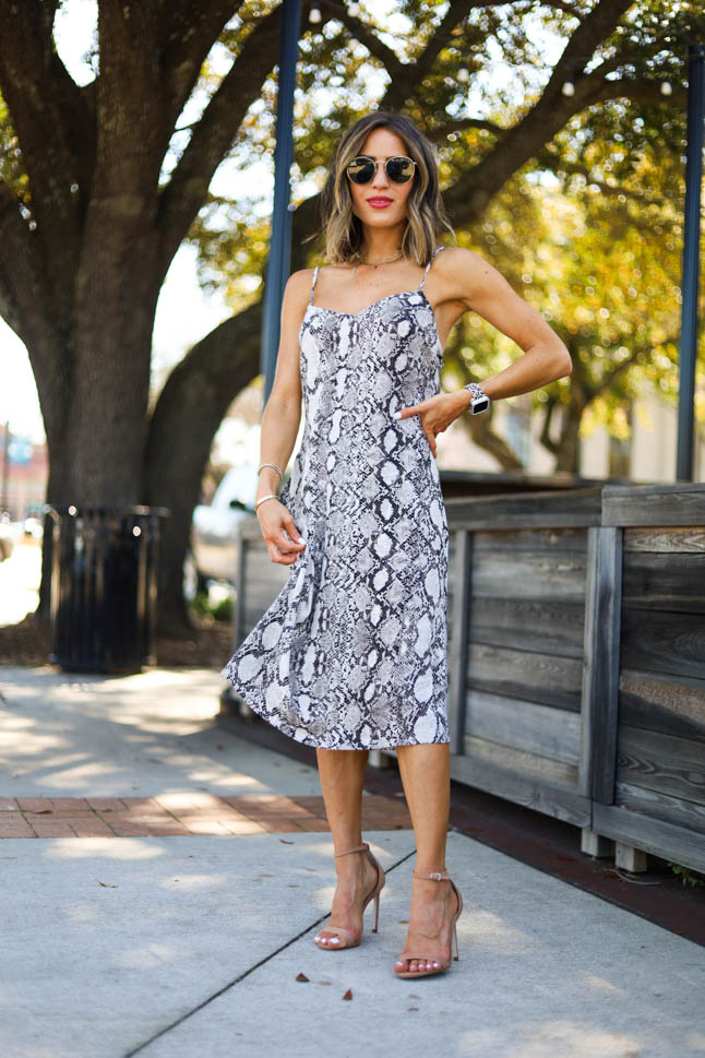 lifestyle and fashion blogger alexis belbel sharing four ways to style a snakeskin print dress from express and nude heels from steve madden  adoubledose.com