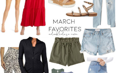 lifestyle and fashion blogger alexis belbel sharing her march favorites in shoes and clothing: dresses, maxi dresses, denim shorts from abercrombie, amazon activewear, studded sandals steve madden | adoubledose.com