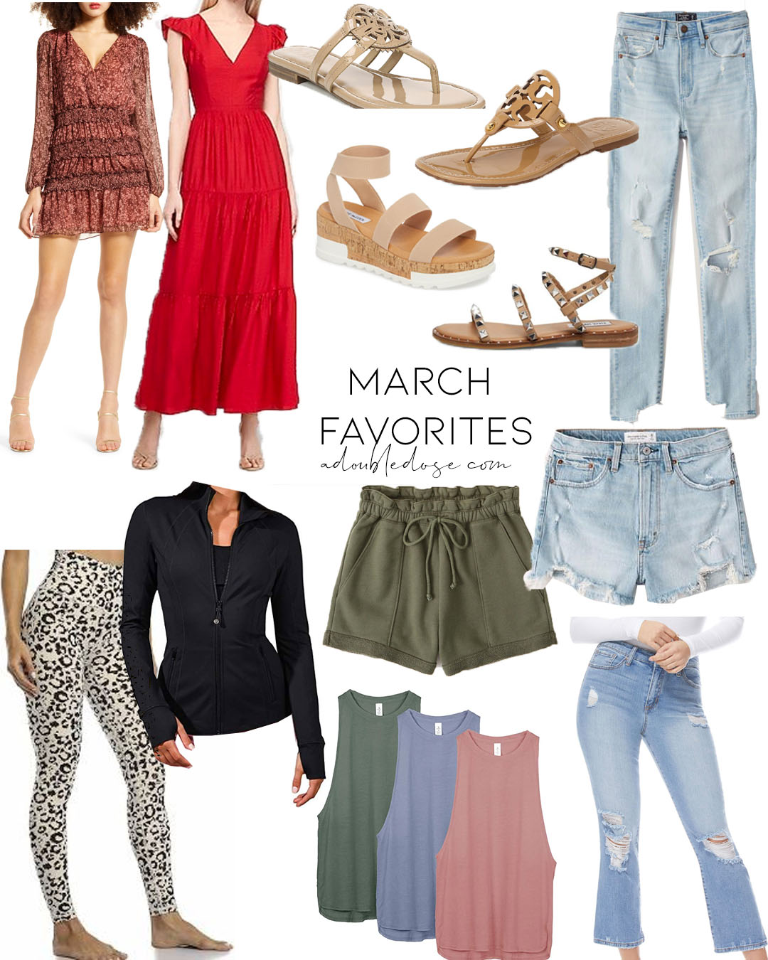 lifestyle and fashion blogger alexis belbel sharing her march favorites in shoes and clothing: dresses, maxi dresses, denim shorts from abercrombie, amazon activewear, studded sandals steve madden   adoubledose.com