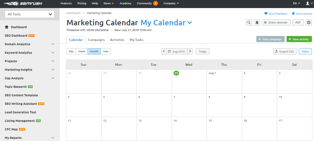 marketing calendar urgency SEMrush