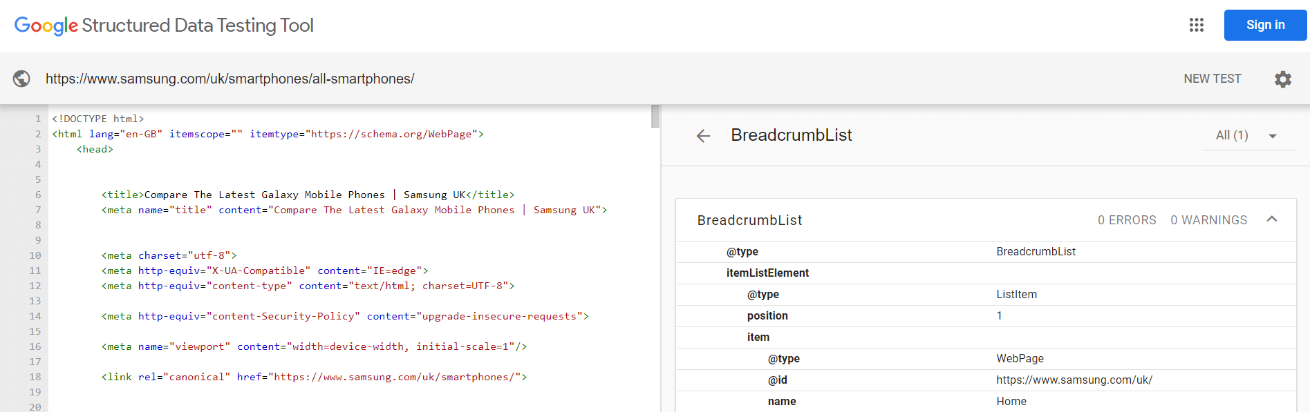 Breadcrumbs structured data testing tool