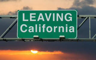 Leaving California sign