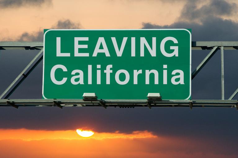 Leaving California sign