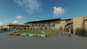 Architect's rendering of the new high school for Jackson County's west side community.