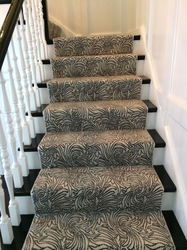 Floral Black and White Stair Runner by Farsh Carpet