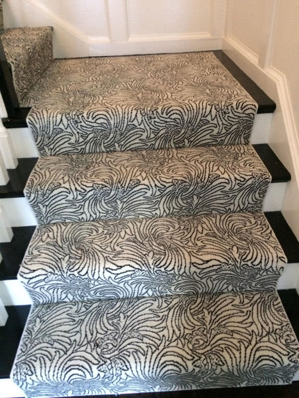 Detail of Floral Black and White Stair Runner