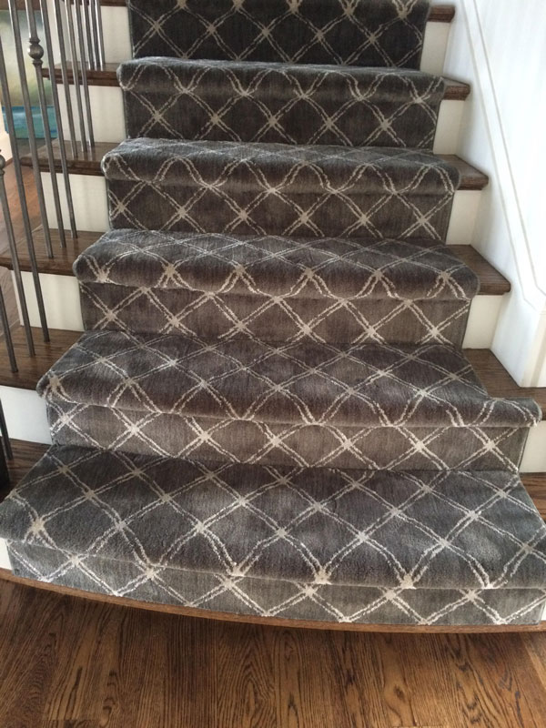Close up detail of Patterned Grey and White Stair Runner