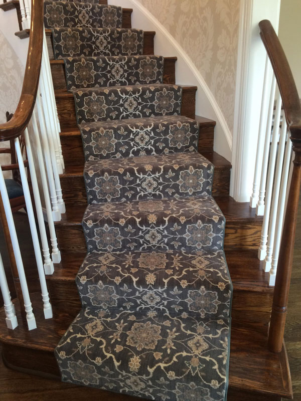 Patterned Grey and White Carpeted Stair Runner