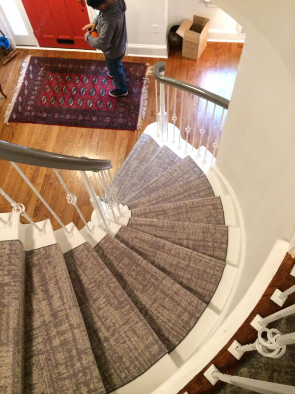 Abstract Gray Carpet on Curved Steps by Farsh
