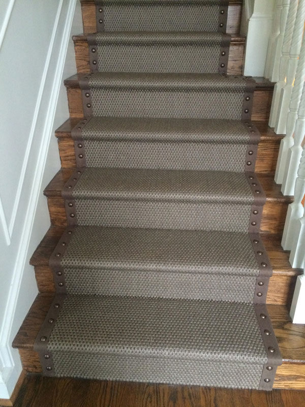 Beautiful Grey Stair Carpet Runner with Rivets