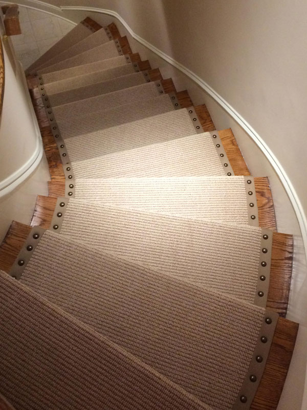 Light Neutral Stair Carpet with Rivets by Farsh Carpets