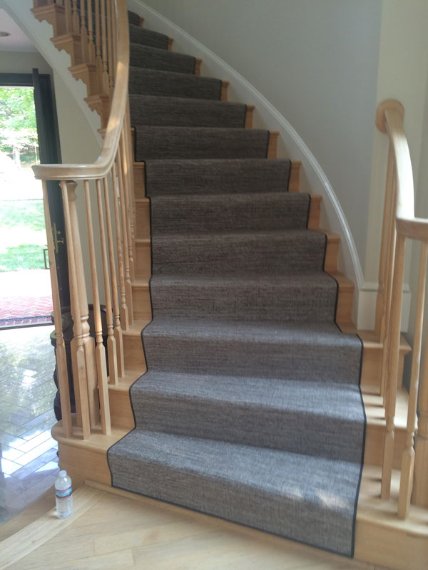 Grey Carpeted Curved Staircase Runner by Farsh Carpets in Alexandria, VA