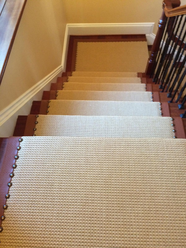 Carpeted Beige and Brown Leather Stair Runner with Rivets by Farsh