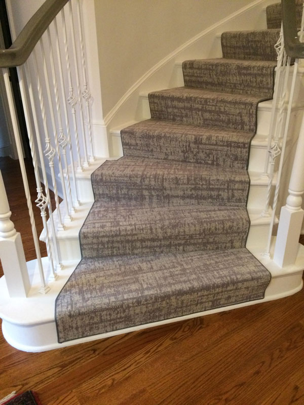 Beautiful Grey Abstract Patterned Runner on Curved Stairs