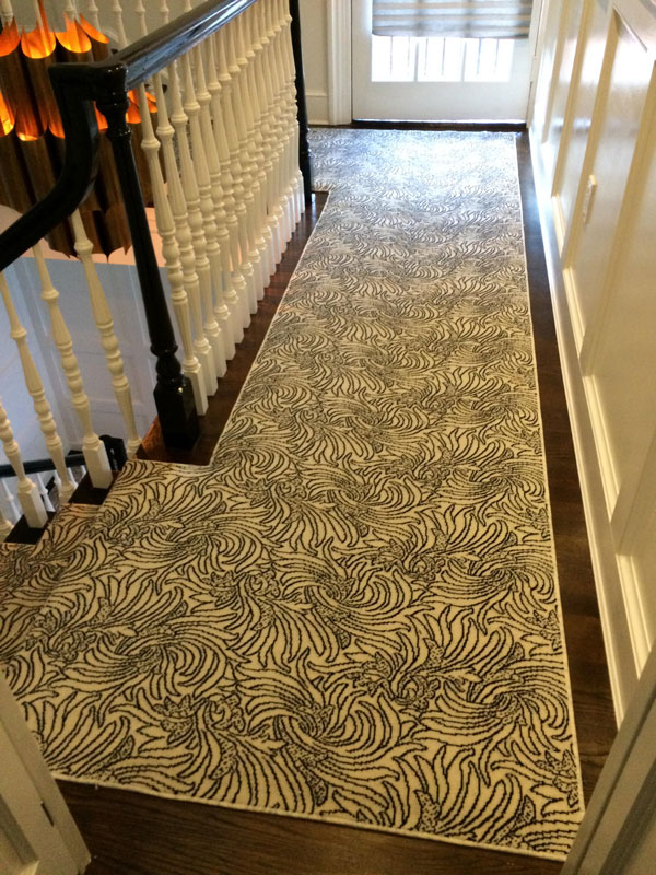 Floral Black and White Hall way Runner by Farsh