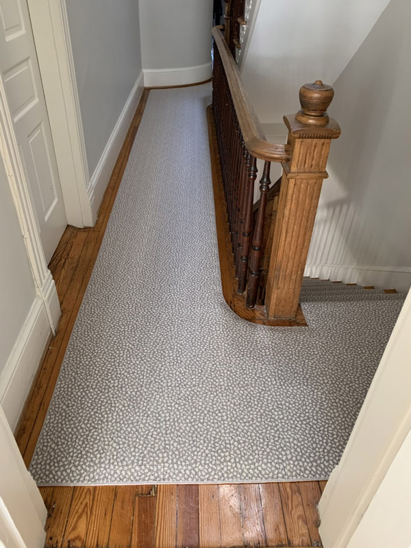 Grey Patterned Hallway and Staircase Carpet Runners by Farsh Carpets