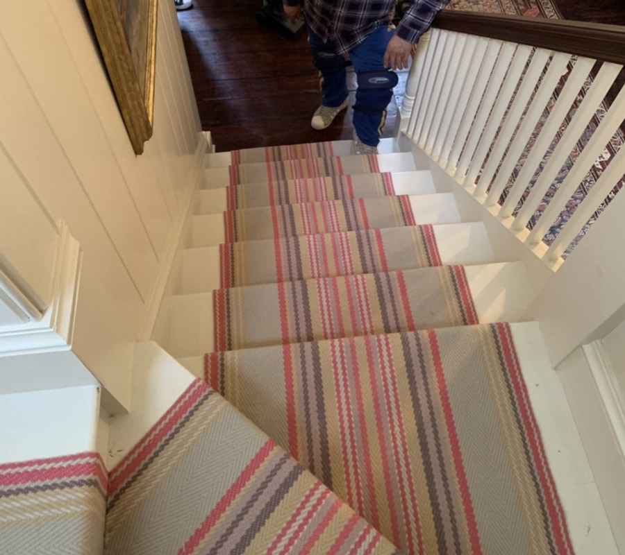 Multi-colored Striped Carpet Runners for Stairs by Farsh Carpets