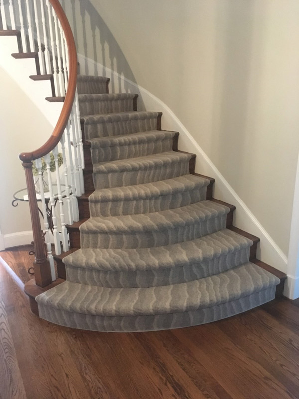 Grey Abstract Stripe Carpet Runner for Stairs by Farsh Carpets & Rugs