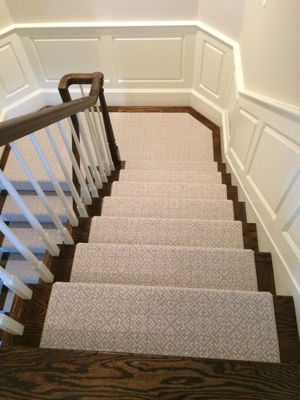 Subtle Grey Pattern Custom Stair Carpeting by Farsh Carpets