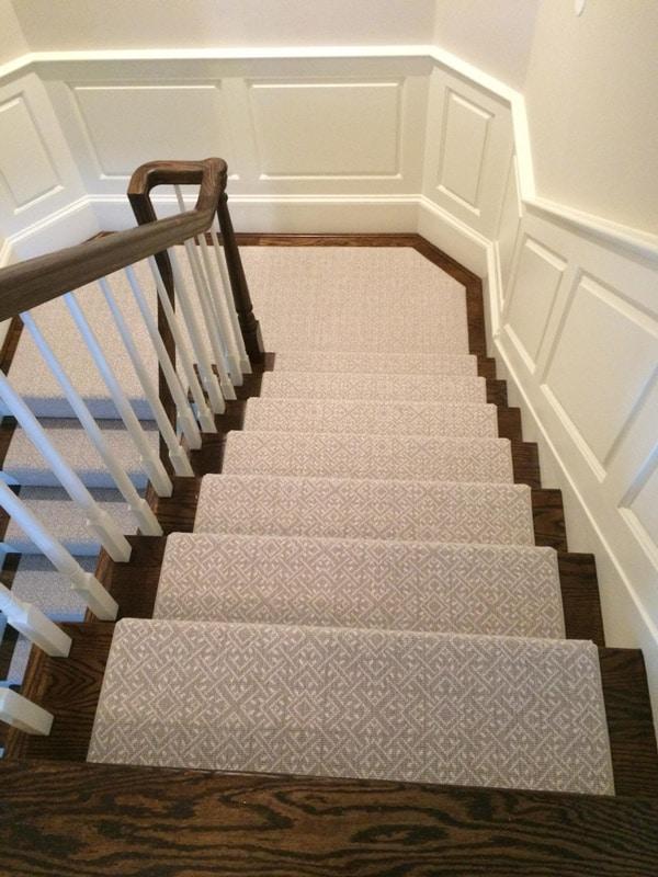 Subtle Grey Pattern Custom Stair Carpeting by Farsh Carpets