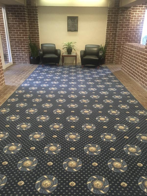 waiting room lobby commercial carpet custom install by farsh carpets