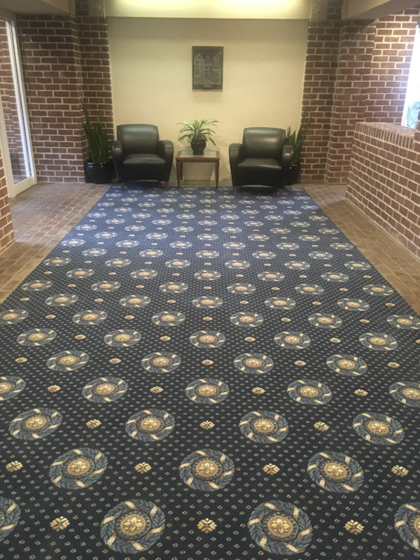 waiting room lobby commercial carpet custom install by farsh carpets