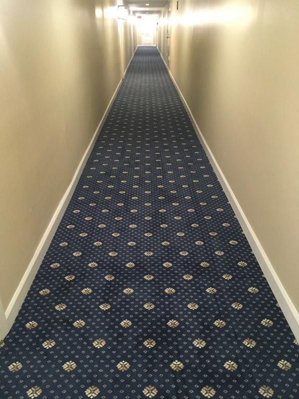 Long Hallway Commercial Carpet Installation Hotel Venue Farsh Carpets