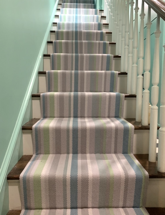 Thin and Thick Striped Colorful Pastel Stair Runner Installed by Farsh Carpets & Rugs