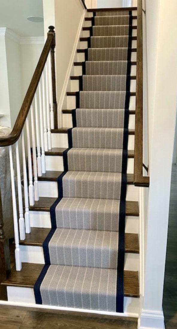 Grey, Navy, White Striped Carpet Stair Runner Installed by Farsh Carpets & Rugs
