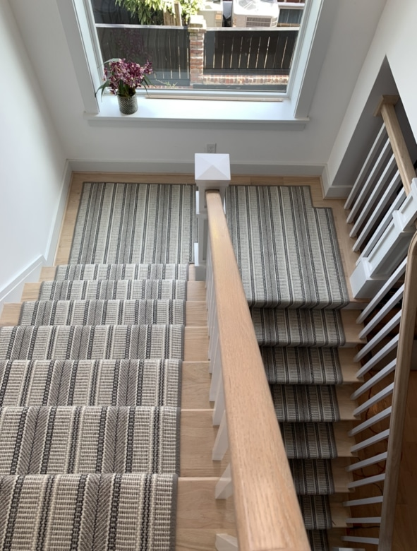 Grey Striped Patterned Carpeted Stair Runner Installed by Farsh Carpets & Rugs