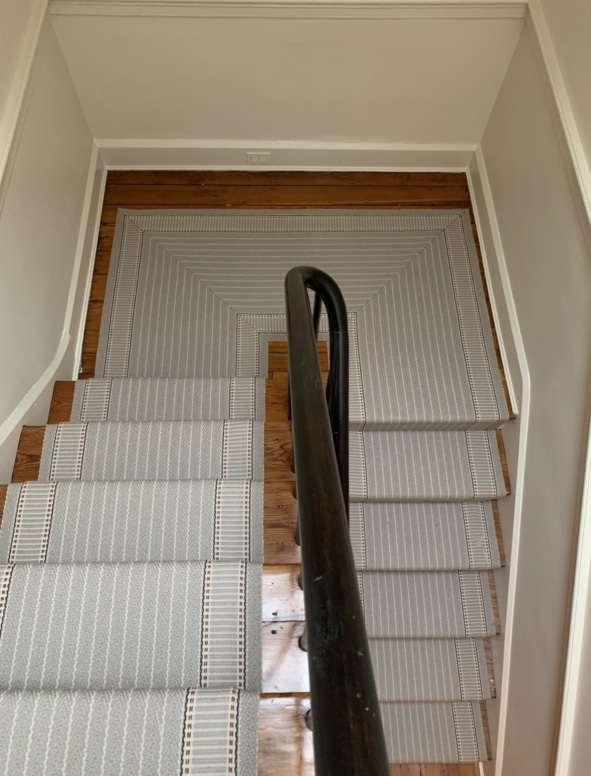 Grey Striped Carpeted Stair Runner by Farsh Carpets & Rugs