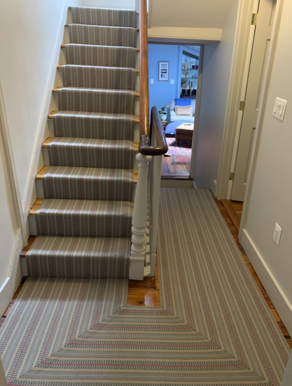 Grey Striped Carpeted Stair Runner with Red Pin Stripe Installed by Farsh Carpets & Rugs