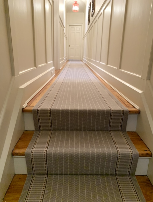 Grey Striped Carpeted Hallway and Stair Runner Installed by Farsh Carpets & Rugs