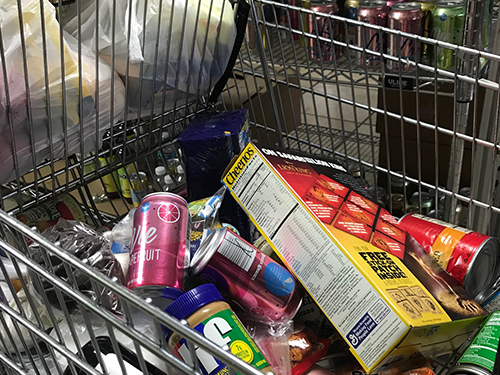 Cart full of food from our food pantry
