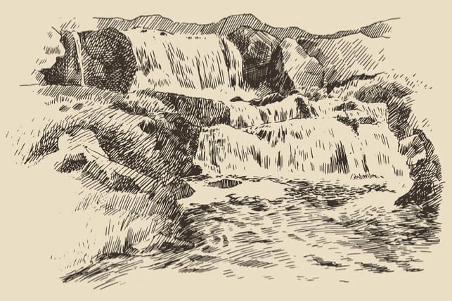 sketch of waterfalls 2
