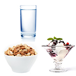 glass of water and healthy snacks 2